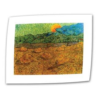 Vincent van Gogh 'Evening Landscape with Rising Moon' Flat Canvas