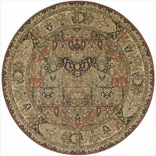 Living Treasures Khaki Wool Rug (5'10 Round)