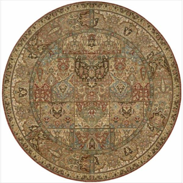 Living Treasures Multicolor Wool Rug (5'10 Round)