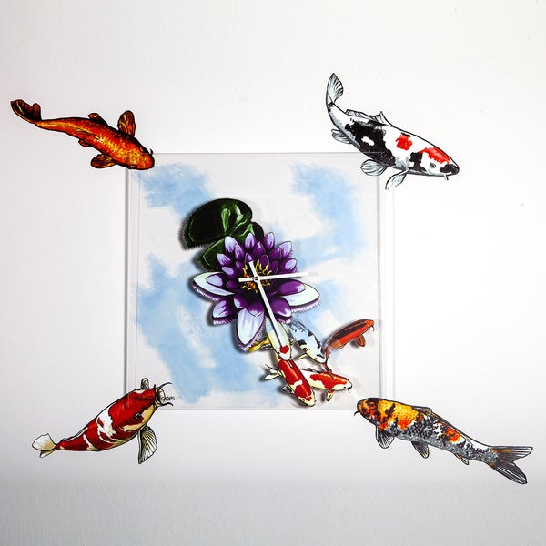 Maxwell Dickson 'Koi Fish' 15x15-inch Wall Clock