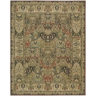 Living Treasures Khaki Wool Rug (5'6 x 8'3)
