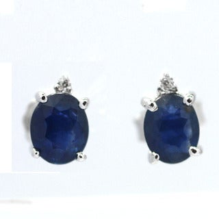 De Buman Sterling Silver Genuine Sapphire and Diamond Stud Earrings