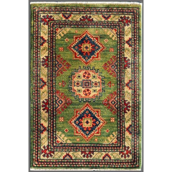 Afghan Hand-knotted Kazak Geometric Green/ Ivory Wool Rug (2' x 2'11)