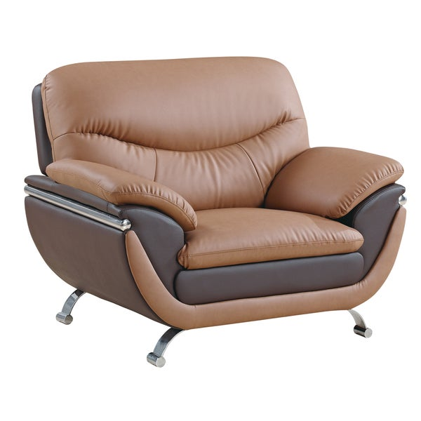 Two-tone Light Brown/ Dark Brown Bonded Leather Chair 10547040