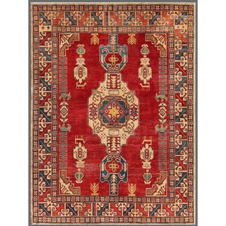 Afghan Hand-knotted Kazak Red/ Ivory Wool Rug (6'7 x 8'11)