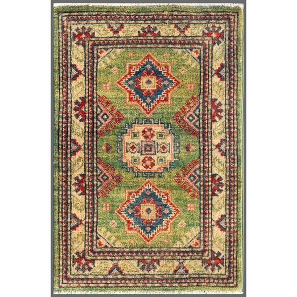 Afghan Hand-knotted Kazak Green/ Ivory Wool Rug (1'11 x 2'11)