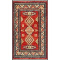 Traditional Afghan Hand-Knotted Kazak Red/ Ivory Wool Rug (1'11 x 3'2)