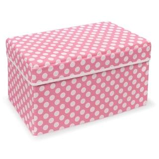 Badger Basket Double Folding Pink Polka Dot Storage Seat