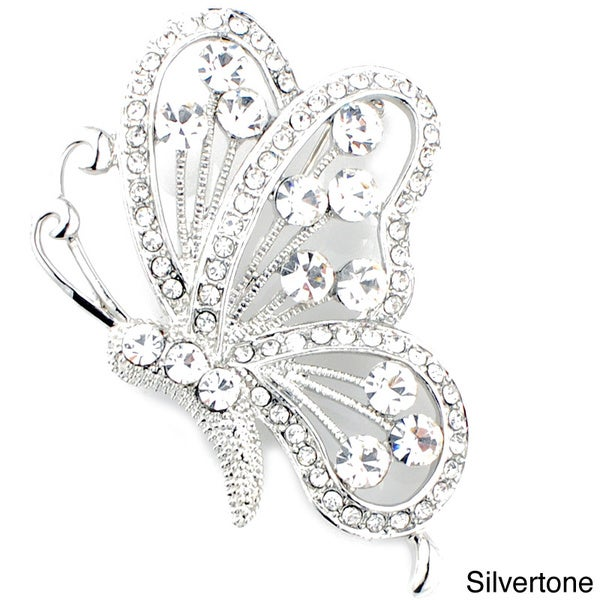 Silvertone or Goldtone Round-cut Crystal Flying Butterfly Brooch