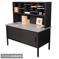 Marvel Adjustable Mail Sorting Station, Riser and Cabinet with 25 Cubbies