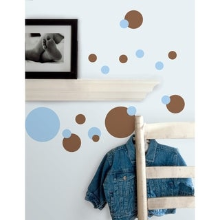 Just Dots Blue and Brown Peel & Stick Wall Decal Art