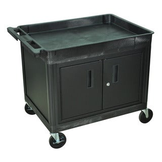 Luxor Black Two-shelf Heavy-duty Locking Utility Cart