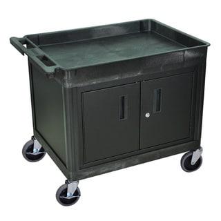 Luxor Black Two-shelf Heavy-duty Locking Utility Cart
