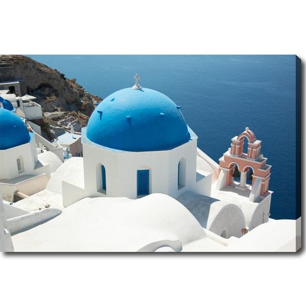'Blue Cupola of a Church in Santorini' Canvas Art