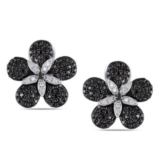 Miadora 14k Gold 1 3/4ct TDW Black and White Diamond Earrings (G-H, SI1-SI2)