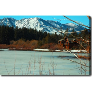 'Snow Mountain, Red Cottage - Lake Tahoe' Canvas Art