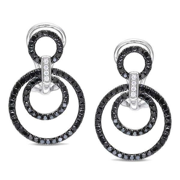 Miadora 14k Gold 4/5ct TDW Black and White Diamond Earrings (G-H, SI1-SI2)