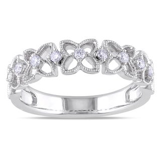 Miadora 18k White Gold 1/6ct TDW Diamond Flower Ring (G-H, SI1-SI2)