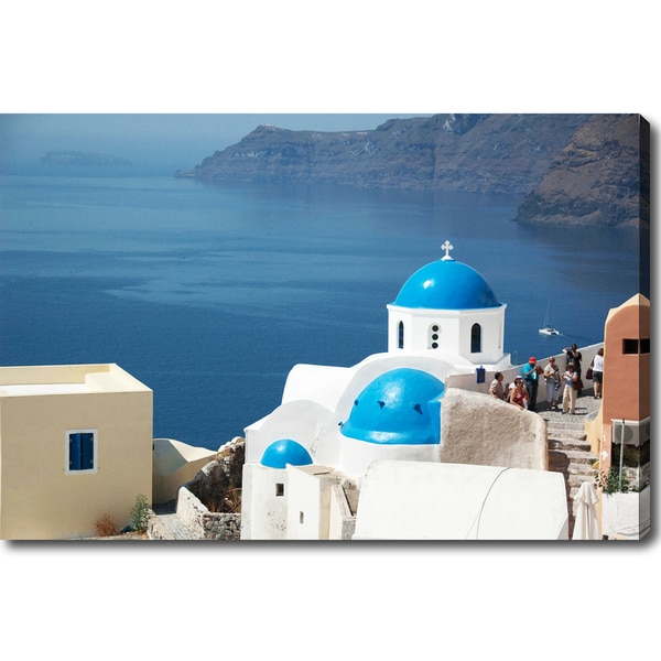 'Blue-domed Church in Santorini' Canvas Art