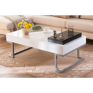 Furniture of America Cassie Coffee Table in Glossy White Finish with Serving Tray