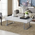 Cassie Coffee Table in Glossy White Finish with Serving Tray
