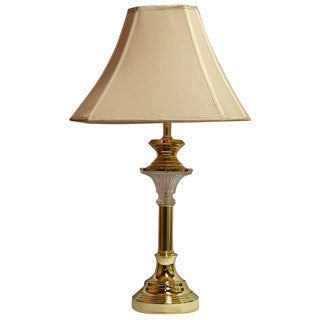 Polished Brass with Crystal Detail Transitional Table Lamp with Shantung Silk Lamp Shade