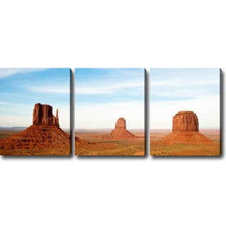 'The Magnificent Monument Valley' 3-piece Gallery-wrapped Canvas Art Set
