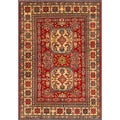 Afghan Hand-knotted Kazak Red/ Ivory Wool Rug (7'3 x 10'5)