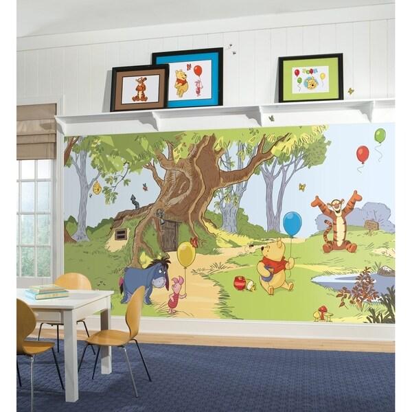 Pooh & Friends Chair Rail Prepasted Wall Art Mural (6' x 10.5')