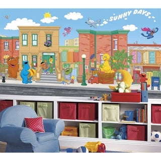 Sesame Street Chair Rail Prepasted Wall Art Mural (6' x 10.5')