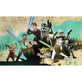 Star Wars Clone Wars Chair Rail Prepasted Wall Art Mural (6' x 10.5')