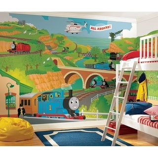 Thomas the Train Chair Rail Prepasted Wall Art Mural (6' x 10.5')