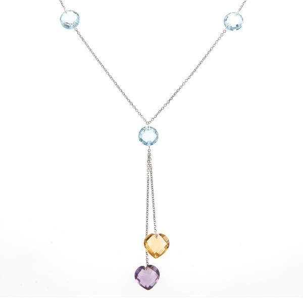 La Preciosa Sterling Silver Blue Topaz, Citrine and Amethyst Necklace