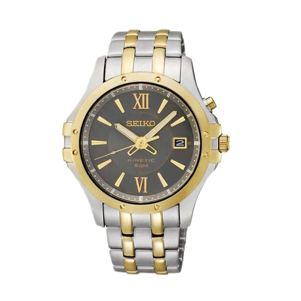 Seiko Kinetic Men's Grey Dial Two-tone Stainless Steel Watch