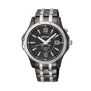 Seiko Men's 'Kinetic' Black Dial Two-tone Stainless Steel Watch