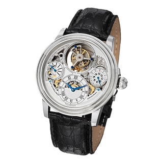 Stuhrling Original Men's Saturnalia Tourbillon Mechanical Crocodile Strap Watch