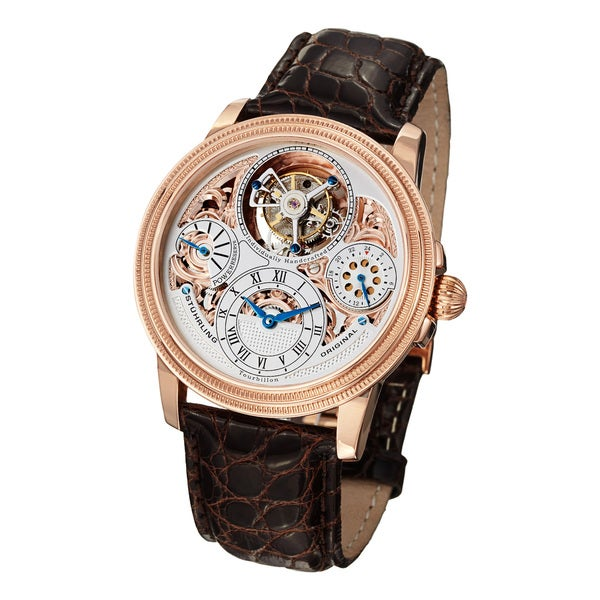 Stuhrling Original Men's Saturnalia Tourbillon Embossed Crocodile Strap Watch