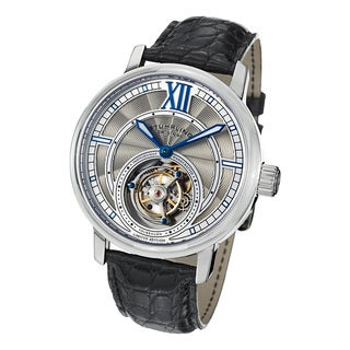 Stuhrling Original Men's Imperium Tourbillon II Stainless-Steel Mechanical Alligator Strap Watch