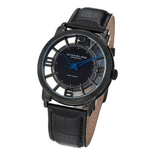 Stuhrling Original Men's Winchester Quartz Leather Strap Watch
