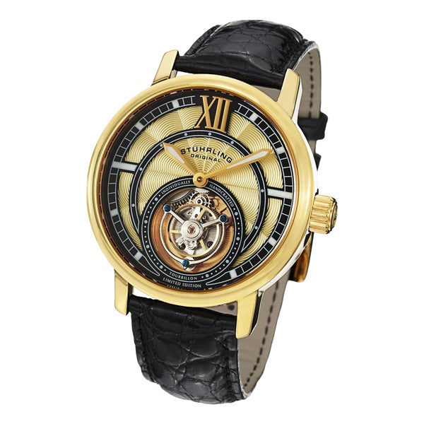 Stuhrling Original Men's Imperium Tourbillon II Mechanical Alligator Strap Watch
