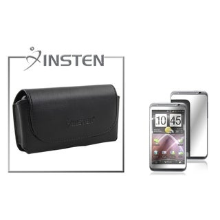 INSTEN Leather Case/ Mirror Screen Protector for HTC Thunderbolt 4G