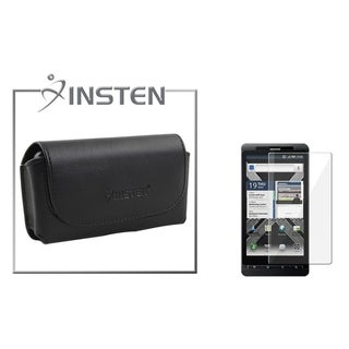 INSTEN Black Leather Pouch/ Screen Protector for Motorola Droid X2