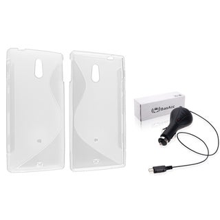 BasAcc Clear TPU Case/ Retractable Car Charger for Sony Xperia P LT22i
