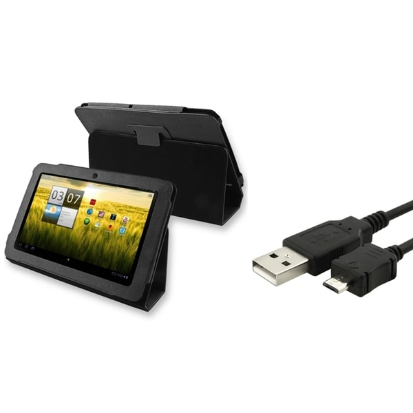 Black Folio Stand Leather Skin Cover Case+USB 2in1 Cable Acer Iconia A200