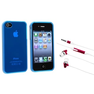 BasAcc Frost Blue TPU Case/ Hot Pink Headset for Apple iPhone 4/ 4S
