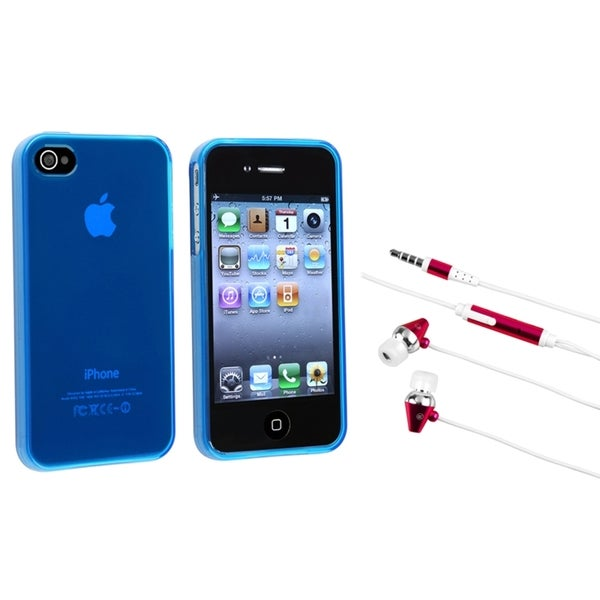 INSTEN Frost Blue TPU Phone Case Cover/ Hot Pink Headset for Apple iPhone 4/ 4S