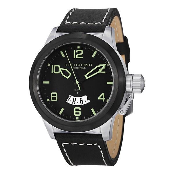 Stuhrling Original Men's Pilot Water-Resistant Quartz Leather Strap Watch