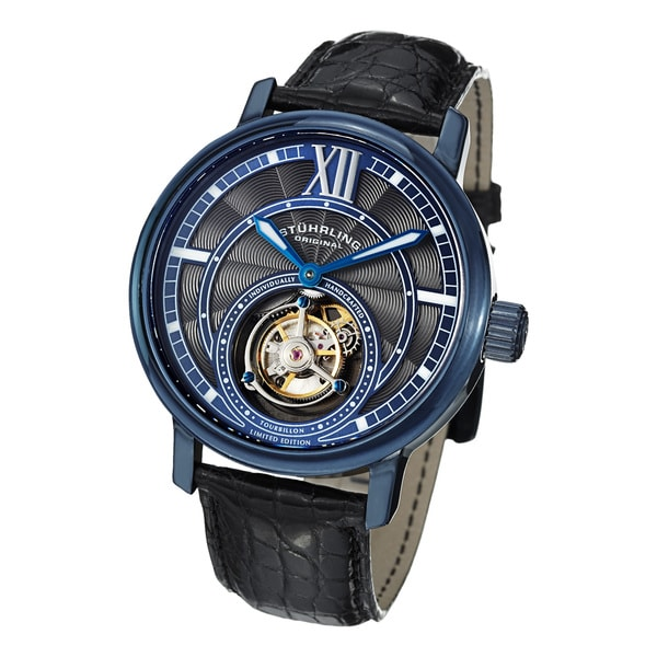 Stuhrling Original Men's Imperium Tourbillon II Mechanical Alligator Strap Watch