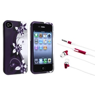 BasAcc Flower Case/ Hot Pink Headset for Apple iPhone 4/ 4S