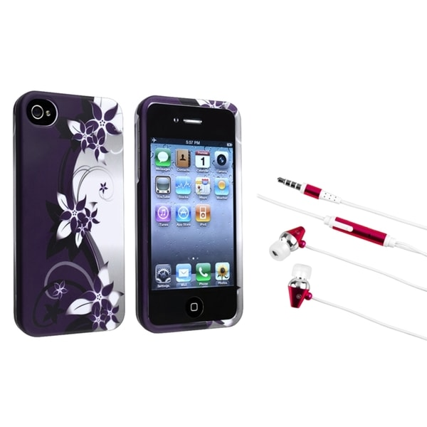 INSTEN Flower Phone Case Cover/ Hot Pink Headset for Apple iPhone 4/ 4S